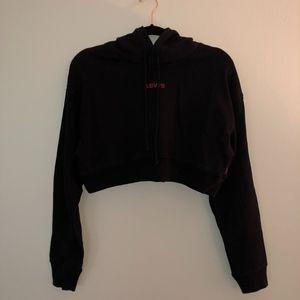 Brand New Levi's Black Crop Top Hoodie